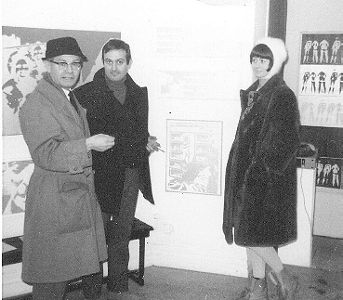KARY LASCH AND ONE OF THE AUSTRIAN ARTIST BROTHERS STEFFE  left.  at TURE SJOLANDERS EXHIBITION 1965.