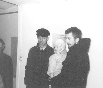 From right: Thomas Tidholm and Olle Wickman with his child 1965.
